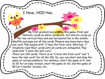 I Have HOO Has Numbers 0-120