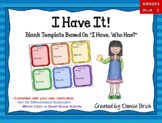 """I Have It! (Like """"I Have Who Has"""") - Blank, Editable Cards"""