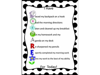 I Have PREPARED For Today Poster:  morning routine checklist (black polka dots)
