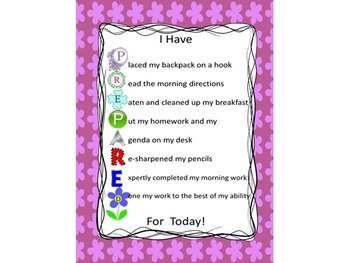 I Have PREPARED For Today Poster: morning routine checklist (purple flowers)