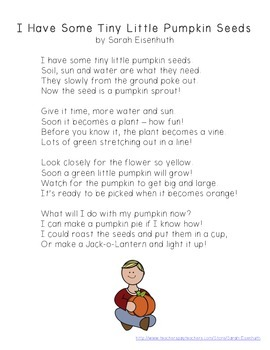 Pumpkin Life Cycle Poem FREEBIE - I Have Some Tiny Little Pumpkin Seeds