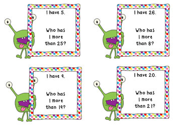 Place Value Game- I Have, Who Has 1 More