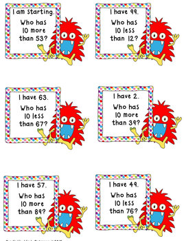 Place Value Game-I Have, Who Has 10 More, 10 Less (two digit numbers)