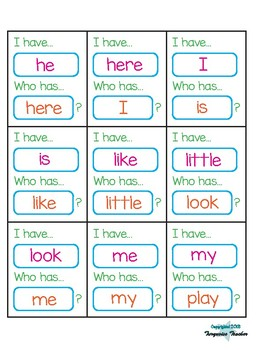 I Have, Who Has 1st Grade High Frequency Words Game