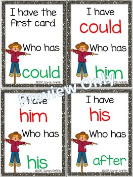 I Have, Who Has? ~ 1st Grade Sight Word Game ~ Fall