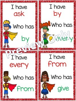 I Have, Who Has? ~ 1st Grade Sight Word Game ~ Superheroes