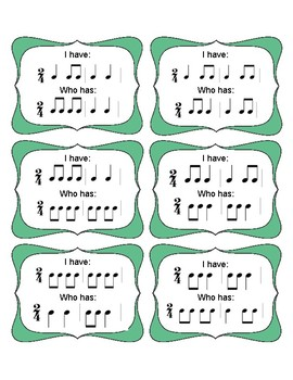 I Have Who Has 2/4 Rhythms (Set 1)