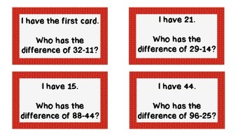I Have, Who Has? 2 Digit Subtraction No Regrouping
