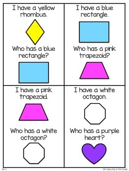 I Have, Who Has: 2D Shapes {freebie!}