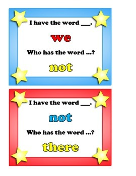 """I Have... Who Has?  2nd 25 """"FRY"""" Sight Words"""