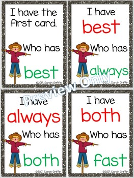 I Have, Who Has? ~ 2nd Grade Sight Word Game ~ Fall