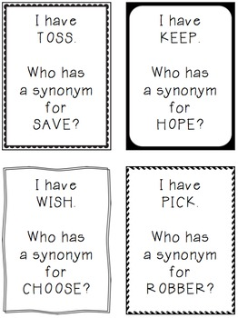 I Have Who Has Antonyms