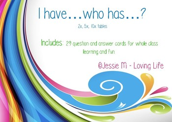 I Have... Who Has...? Math Game - 2x, 5x, 10x tables