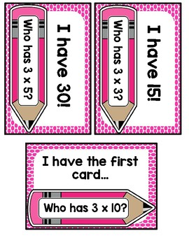 I Have Who Has? 3 Multiplication Facts