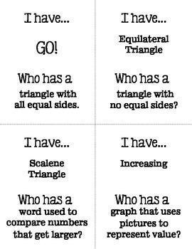 I Have Who Has 3rd Grade Math Vocabulary