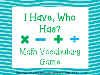 I Have, Who Has 3rd Grade Math Vocabulary Game
