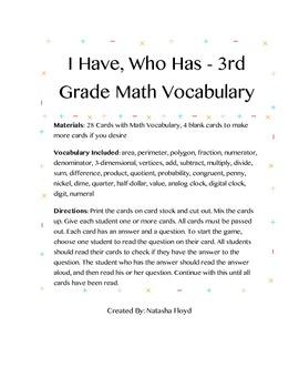 I Have, Who Has - 3rd Grade Math Vocabulary