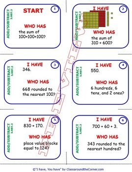 I Have, Who Has… 3rd Grade  3.NBT.2 Adding and Subtract Within 1,000