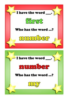 """I Have... Who Has?  4th 25 """"FRY"""" Sight Words"""