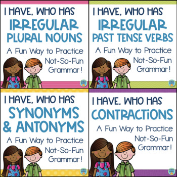 I Have, Who Has Games BUNDLE Synonyms, Antonyms, Irregular Plurals, Past Tense