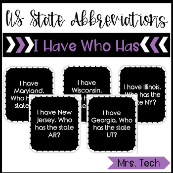 I Have Who Has - 50 State Abbreviations (United States of America)