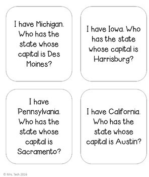 I Have Who Has - 50 States & Capitals (United States of America)