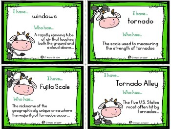 I Have, Who Has - A Game for vocabulary about Tornados