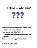 Phonics: Magic e and closed syllables I Have, Who Has