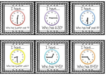I Have, Who Has.... {A time to the half & quarter hour matching game} FREEBIE!