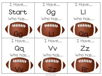 I Have Who Has ABC cards {Football Themed}