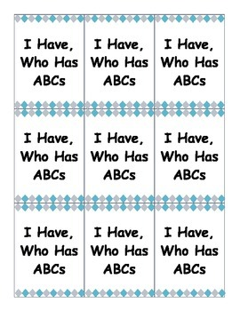 I Have, Who Has ABCs