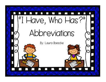 I Have, Who Has Abbreviations