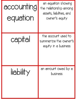 I Have Who Has...Accounting Vocabulary