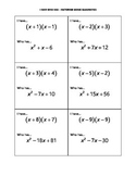 I Have Who Has Activity Cards - Factoring Quadratic Expressions