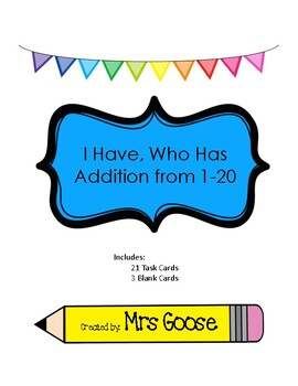 I Have Who Has Adding 1-20