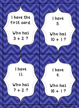 I Have, Who Has Adding 1 or 2 to a Number within 20