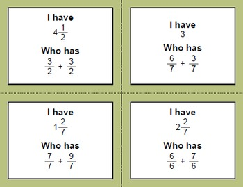I Have, Who Has - Adding Like Fractions