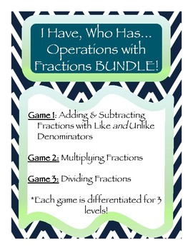 Differentiated I Have Who Has: Add, Subtract, Multiply & Divide Fractions