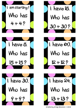 I Have, Who Has Addition Doubles- CCSS Aligned