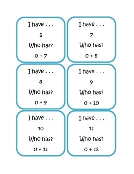I Have, Who Has Addition Facts 0 - 20 for Centers, DIY's, and Daily 5