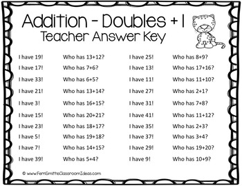 I Have, Who Has? Addition Facts - Doubles Plus One