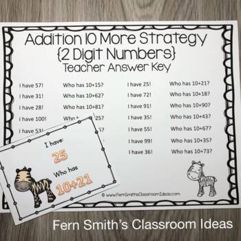 I Have Who Has Game Addition Facts - Ten More {Two Digit Numbers}