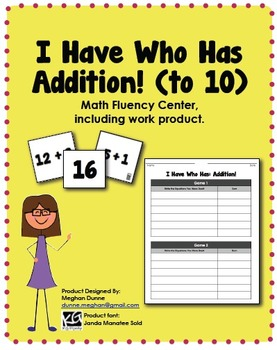 I Have Who Has, Addition Facts to 10