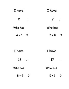 """""""I Have, Who Has...?"""" Addition Facts to 20"""