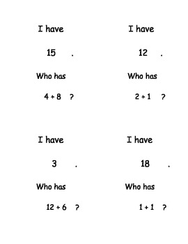 """I Have, Who Has...?"" Addition Facts to 20"