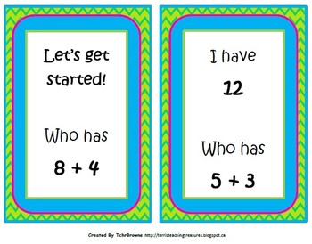 I Have Who Has - Addition Facts to 30