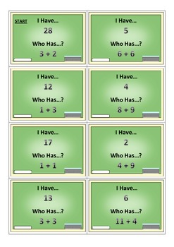 I Have... Who Has...? Addition Game (0-30)