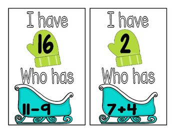 I Have Who Has Addition/Subtraction Freebie