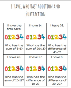I Have, Who Has (Addition/Subtraction Mix)
