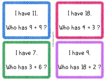 I Have, Who Has? - Addition Sums 0 to 20 {Ontario Grade 1 Numeracy}